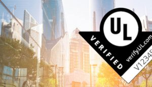 UL Verified Mark on a blurred skyscrapers background